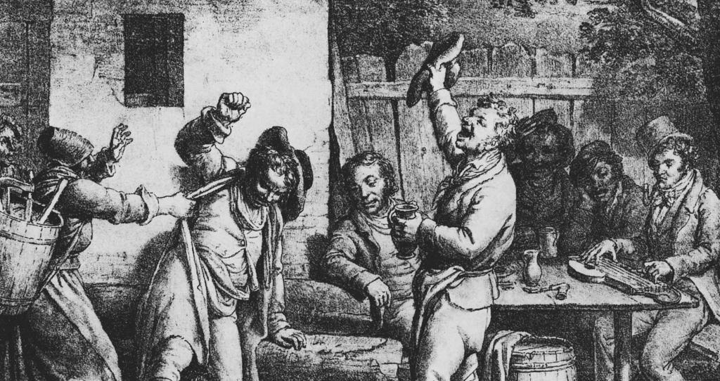 Old art of drunk people.