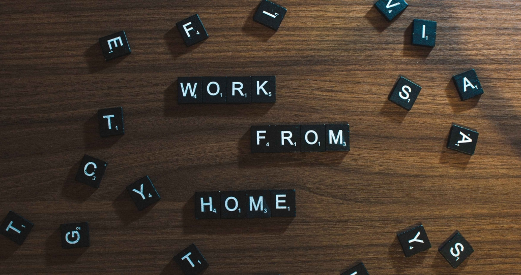 Scrabble pieces saying work from home.